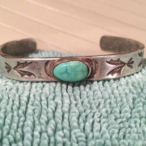 Vintage Child's Turquoise and Silver Bracelet